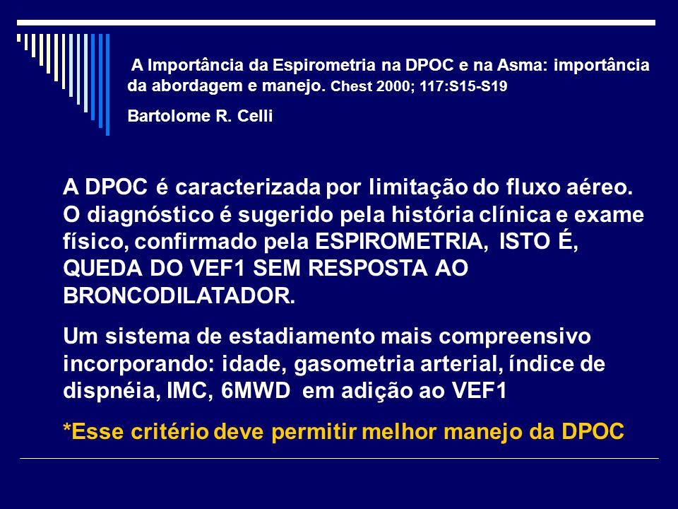 A Importância da Espirometria na DPOC e na Asma: importância da abordagem e manejo. Chest 2000; 117:S15-S19 Bartolome R. Celli A DPOC é caracterizada