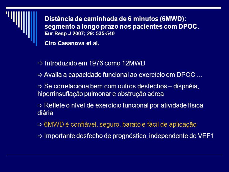 Distância de caminhada de 6 minutos (6MWD): segmento a longo prazo nos pacientes com DPOC. Eur Resp J 2007; 29: 535-540 Ciro Casanova et al.  Introdu