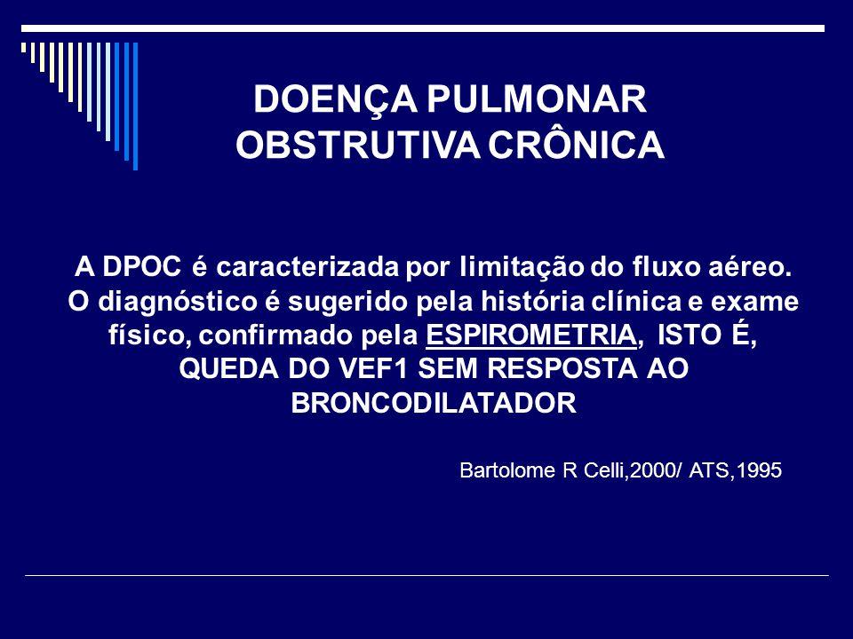 A DPOC é caracterizada por limitação do fluxo aéreo. O diagnóstico é sugerido pela história clínica e exame físico, confirmado pela ESPIROMETRIA, ISTO