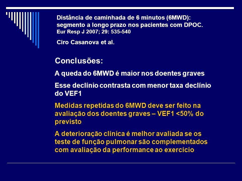 Distância de caminhada de 6 minutos (6MWD): segmento a longo prazo nos pacientes com DPOC. Eur Resp J 2007; 29: 535-540 Ciro Casanova et al. Conclusõe