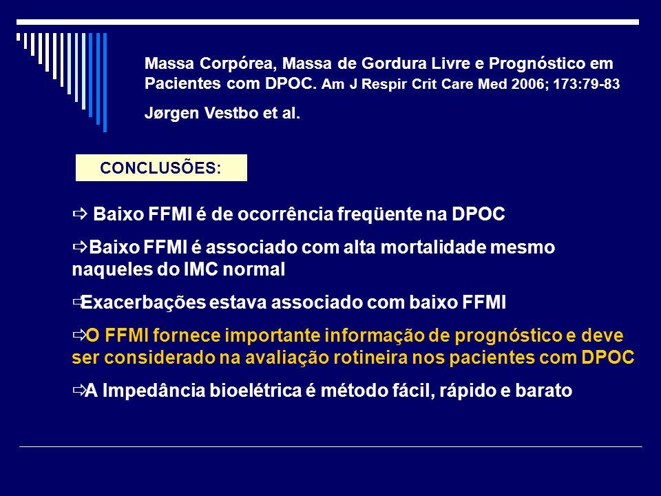 Massa Corpórea, Massa de Gordura Livre e Prognóstico em Pacientes com DPOC. Am J Respir Crit Care Med 2006; 173:79-83 Jørgen Vestbo et al.  Baixo FFM