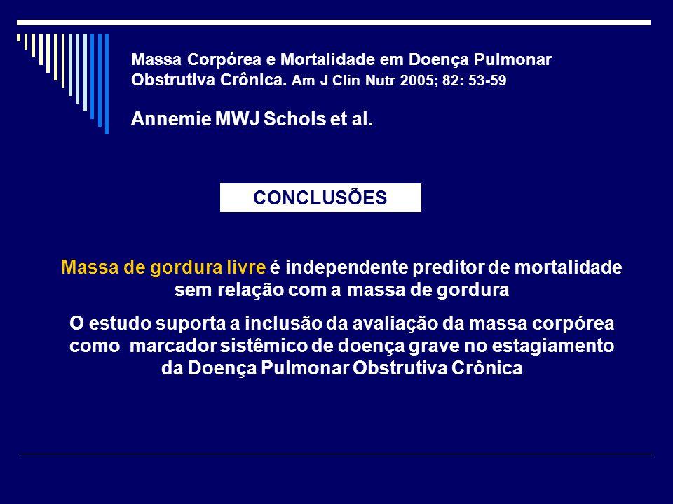 Massa Corpórea e Mortalidade em Doença Pulmonar Obstrutiva Crônica. Am J Clin Nutr 2005; 82: 53-59 Annemie MWJ Schols et al. CONCLUSÕES Massa de gordu