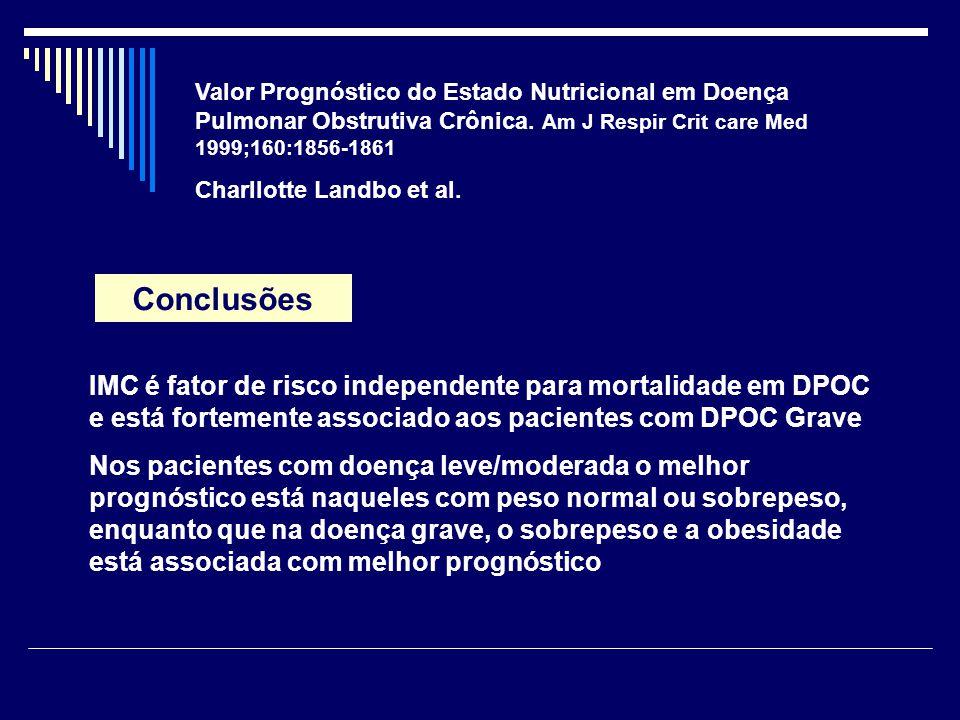 Valor Prognóstico do Estado Nutricional em Doença Pulmonar Obstrutiva Crônica. Am J Respir Crit care Med 1999;160:1856-1861 Charllotte Landbo et al. C