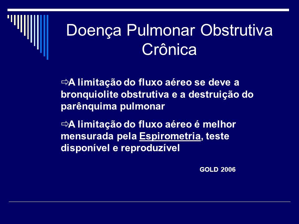 Doença Pulmonar Obstrutiva Crônica  A limitação do fluxo aéreo se deve a bronquiolite obstrutiva e a destruição do parênquima pulmonar  A limitação