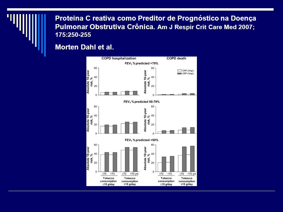Proteina C reativa como Preditor de Prognóstico na Doença Pulmonar Obstrutiva Crônica. Am J Respir Crit Care Med 2007; 175:250-255 Morten Dahl et al.