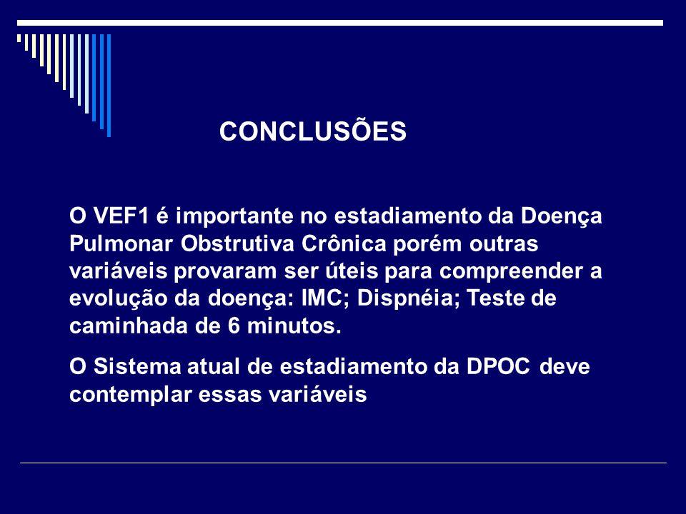 O VEF1 é importante no estadiamento da Doença Pulmonar Obstrutiva Crônica porém outras variáveis provaram ser úteis para compreender a evolução da doe
