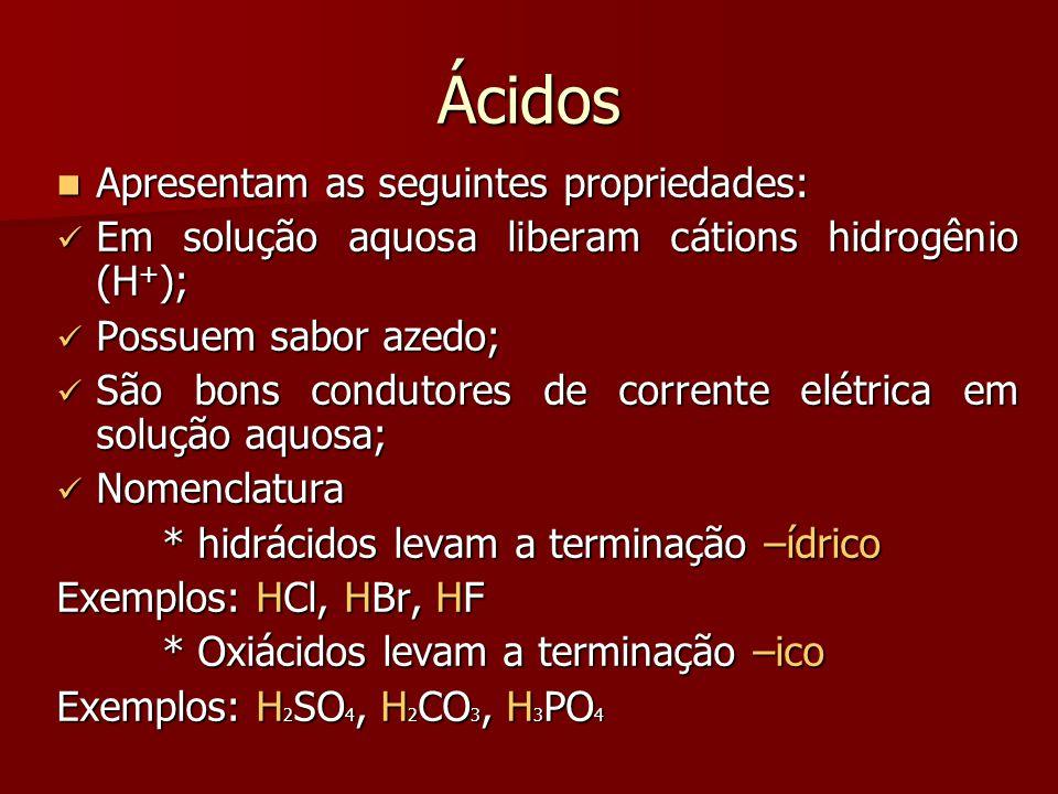 Ácidos Apresentam as seguintes propriedades: Apresentam as seguintes propriedades: Em solução aquosa liberam cátions hidrogênio (H + ); Em solução aqu