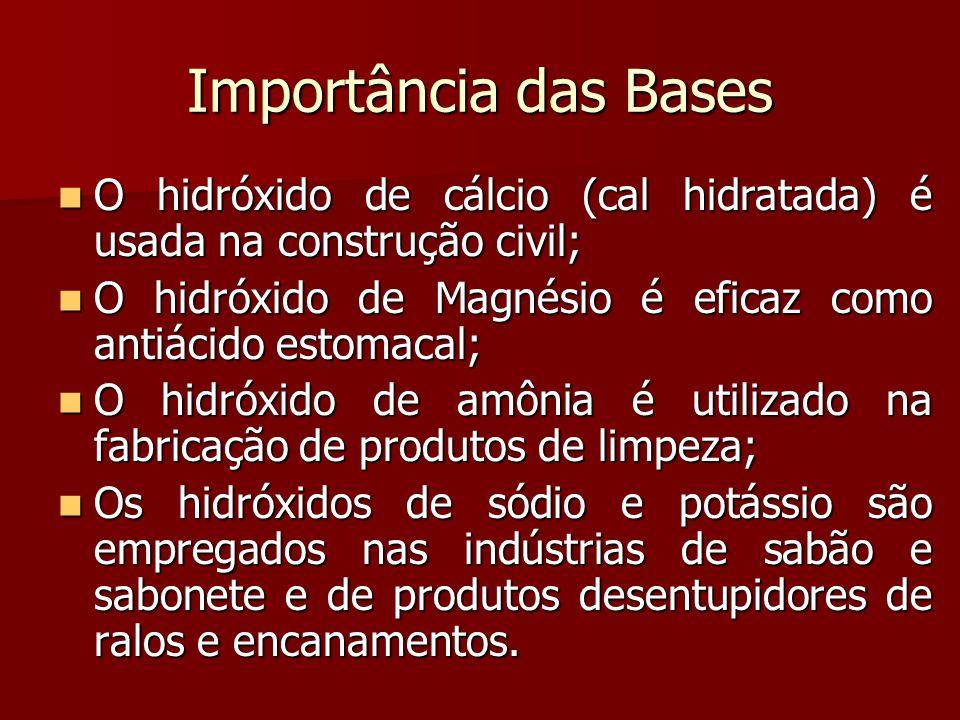 Importância das Bases O hidróxido de cálcio (cal hidratada) é usada na construção civil; O hidróxido de cálcio (cal hidratada) é usada na construção c