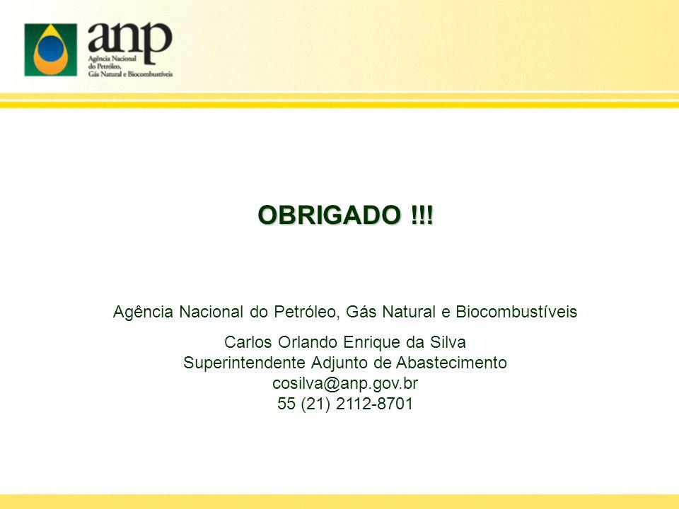 OBRIGADO !!! Agência Nacional do Petróleo, Gás Natural e Biocombustíveis Carlos Orlando Enrique da Silva Superintendente Adjunto de Abastecimento cosi