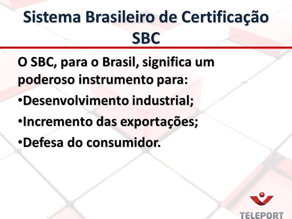 Sistema Brasileiro de Certificação SBC O SBC, para o Brasil, significa um poderoso instrumento para: Desenvolvimento industrial; Desenvolvimento industrial; Incremento das exportações; Incremento das exportações; Defesa do consumidor.