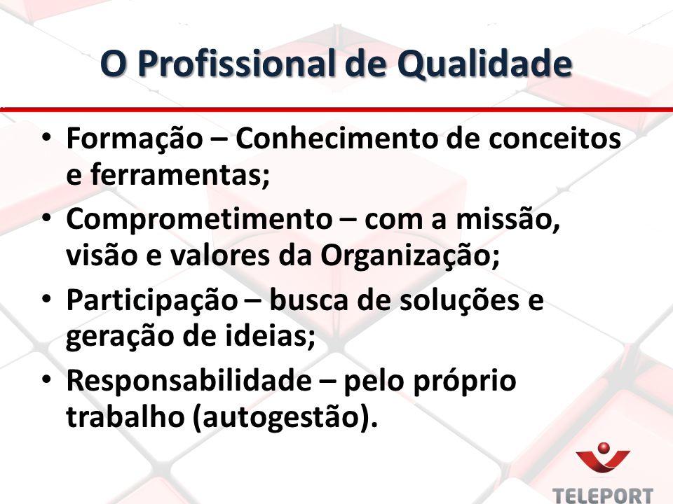 O Profissional de Qualidade Formação – Conhecimento de conceitos e ferramentas; Comprometimento – com a missão, visão e valores da Organização; Participação – busca de soluções e geração de ideias; Responsabilidade – pelo próprio trabalho (autogestão).