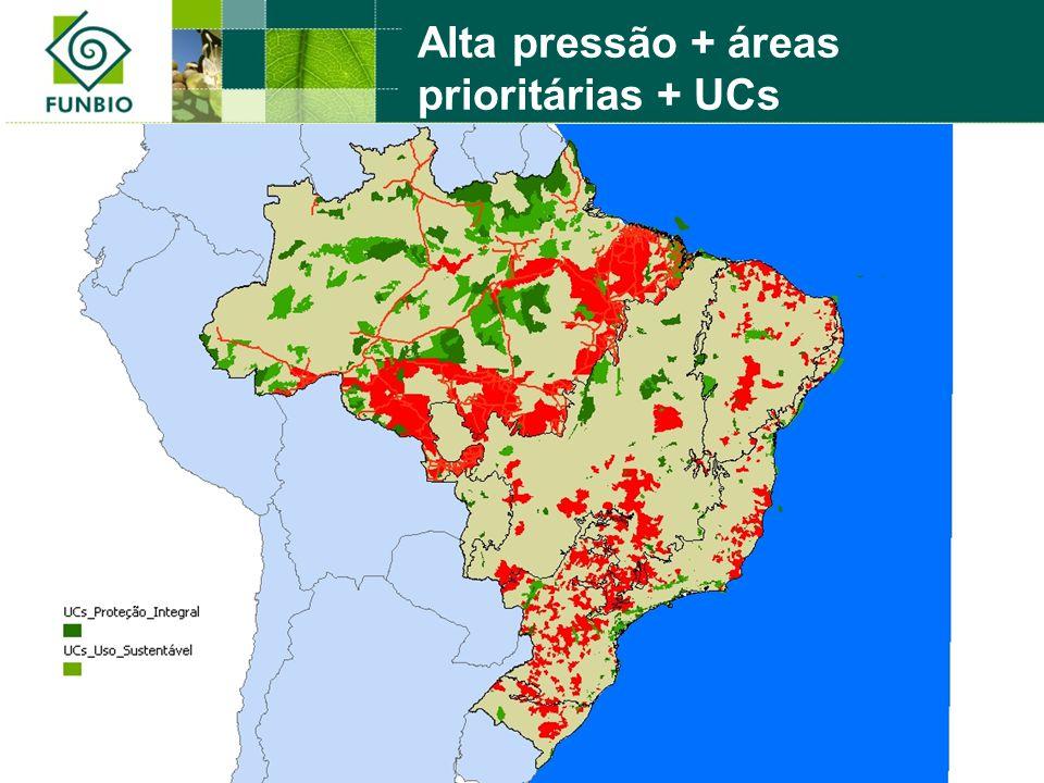 Alta pressão + áreas prioritárias + UCs