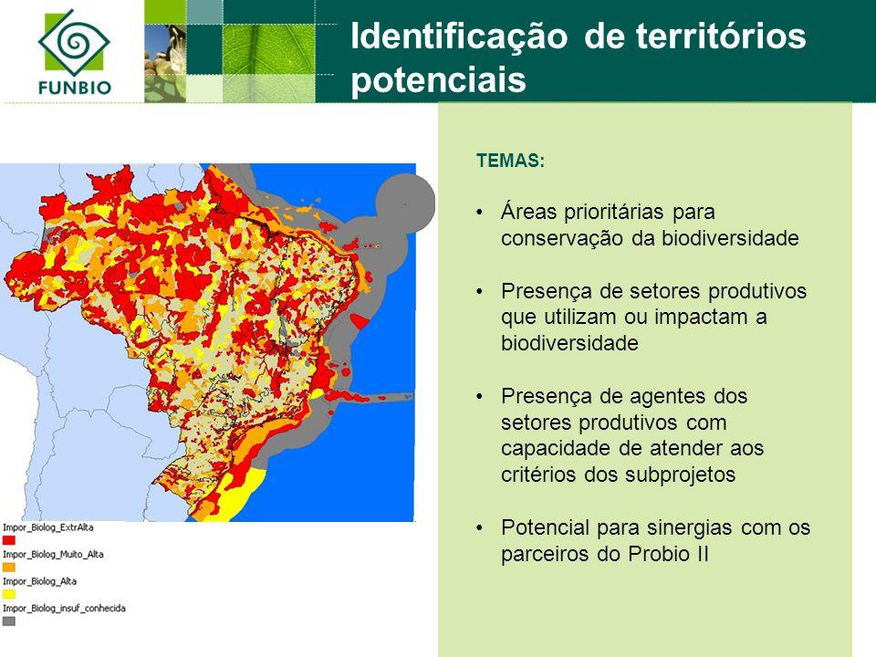 TEMAS: Áreas prioritárias para conservação da biodiversidade Presença de setores produtivos que utilizam ou impactam a biodiversidade Presença de agentes dos setores produtivos com capacidade de atender aos critérios dos subprojetos Potencial para sinergias com os parceiros do Probio II Identificação de territórios potenciais