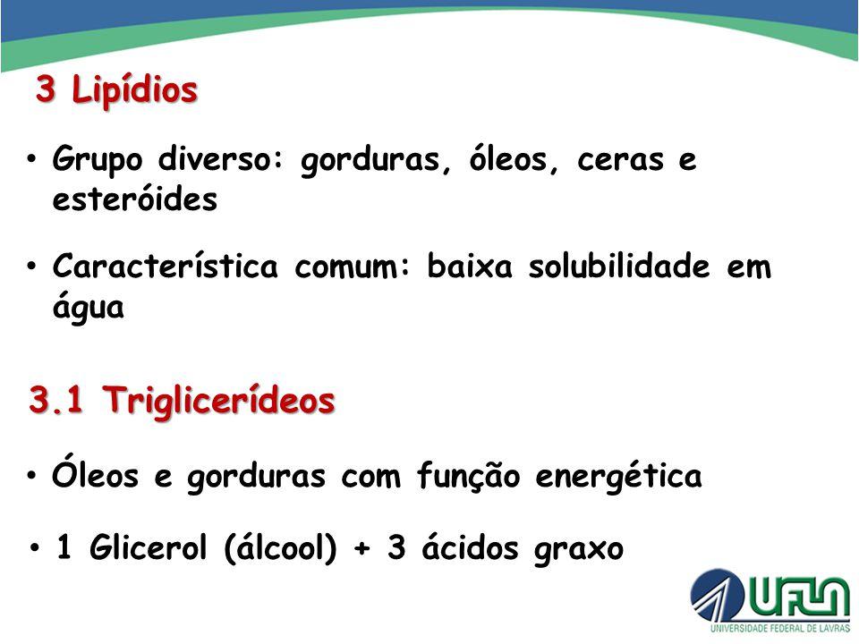 3 Lipídios Grupo diverso: gorduras, óleos, ceras e esteróides Característica comum: baixa solubilidade em água 3.1 Triglicerídeos Óleos e gorduras com