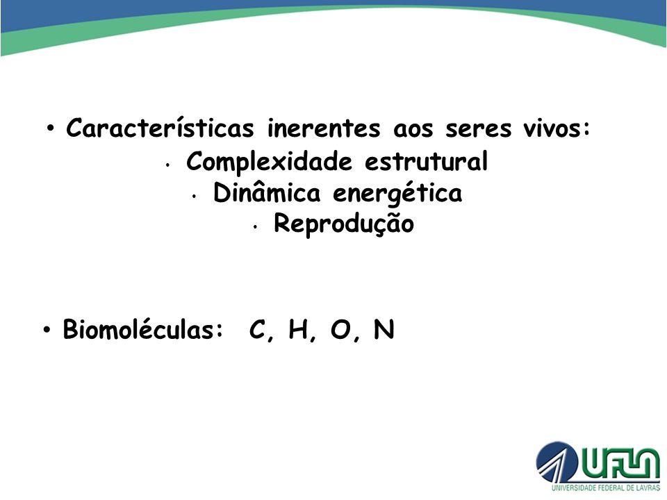 Características inerentes aos seres vivos: Complexidade estrutural Dinâmica energética Reprodução Biomoléculas: C, H, O, N