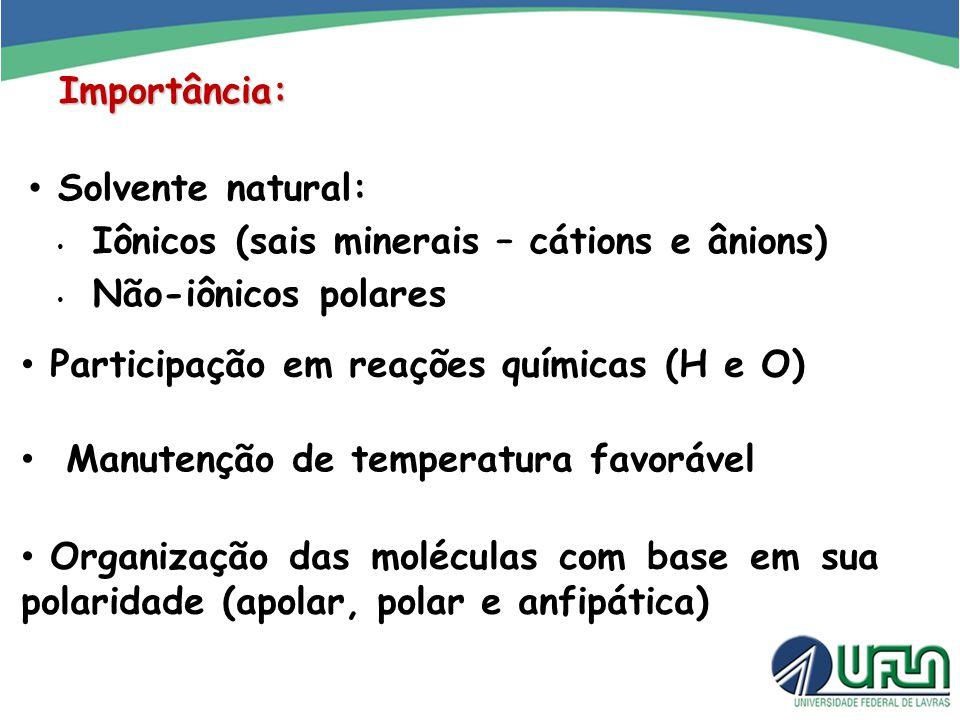Importância: Solvente natural: Iônicos (sais minerais – cátions e ânions) Não-iônicos polares Participação em reações químicas (H e O) Manutenção de t