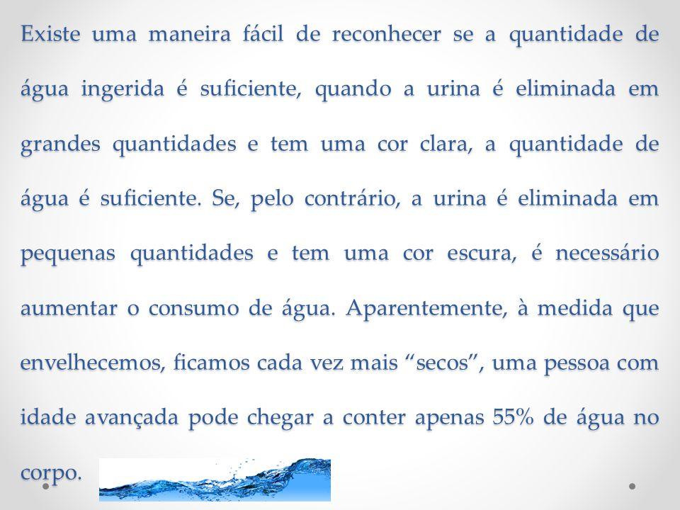 Existe uma maneira fácil de reconhecer se a quantidade de água ingerida é suficiente, quando a urina é eliminada em grandes quantidades e tem uma cor