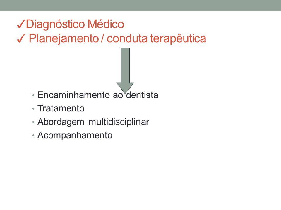 ✓ Diagnóstico Médico ✓ Planejamento / conduta terapêutica Encaminhamento ao dentista Tratamento Abordagem multidisciplinar Acompanhamento