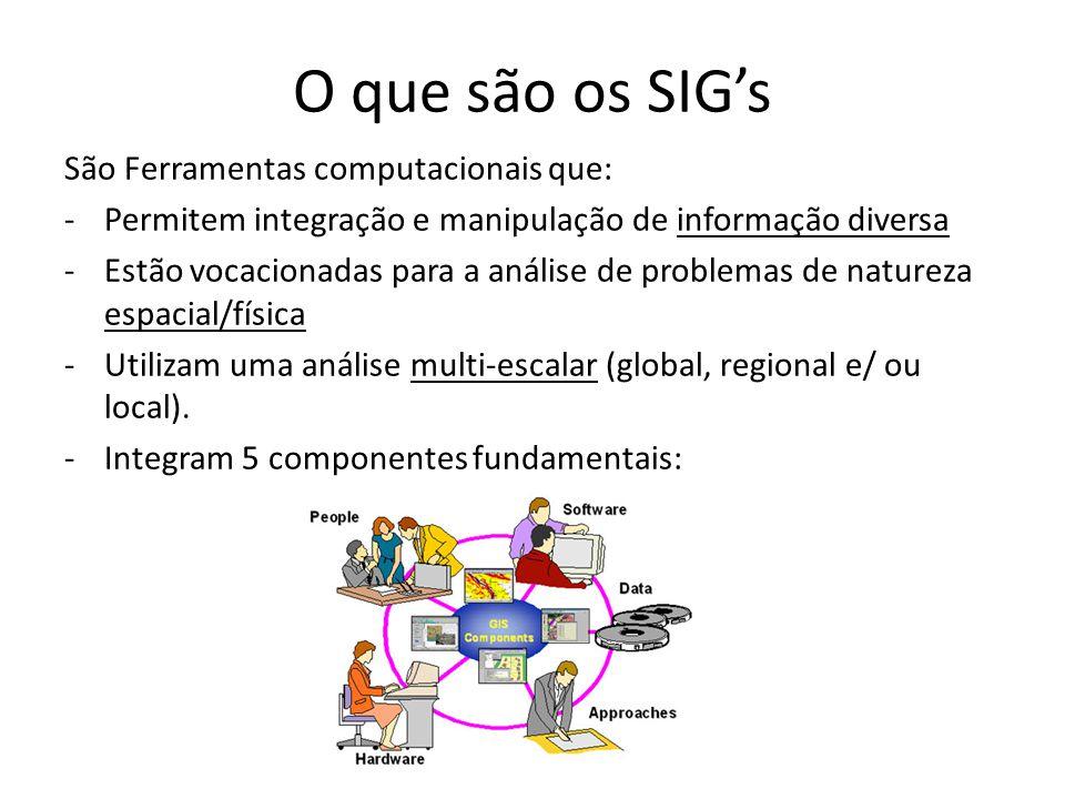 O que são os SIG's São Ferramentas computacionais que: -Permitem integração e manipulação de informação diversa -Estão vocacionadas para a análise de