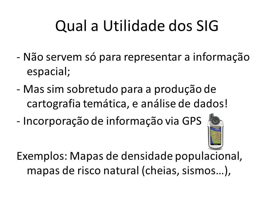 Qual a Utilidade dos SIG - Não servem só para representar a informação espacial; - Mas sim sobretudo para a produção de cartografia temática, e anális