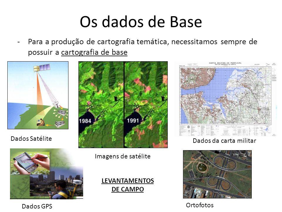 Os dados de Base -Para a produção de cartografia temática, necessitamos sempre de possuir a cartografia de base Dados Satélite Imagens de satélite Dad