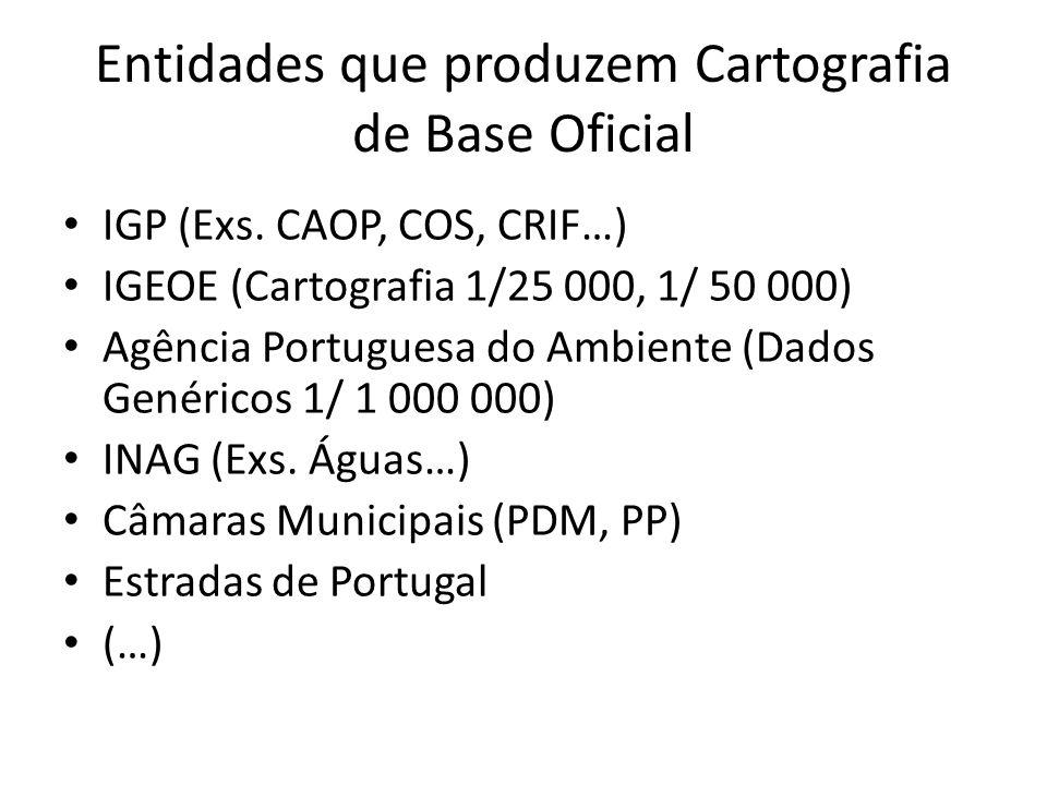 Entidades que produzem Cartografia de Base Oficial IGP (Exs. CAOP, COS, CRIF…) IGEOE (Cartografia 1/25 000, 1/ 50 000) Agência Portuguesa do Ambiente