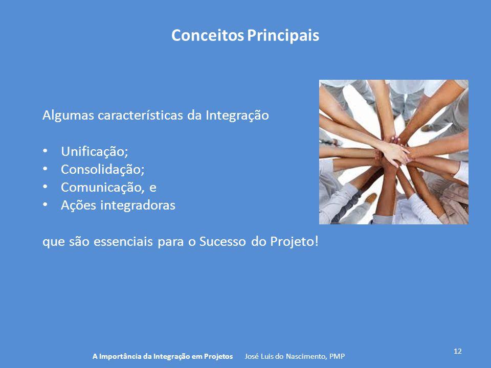 Conceitos Principais 12 Algumas características da Integração Unificação; Consolidação; Comunicação, e Ações integradoras que são essenciais para o Su