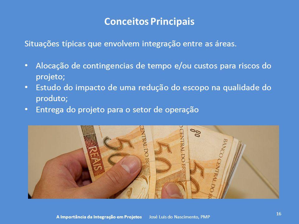Conceitos Principais 16 Situações típicas que envolvem integração entre as áreas. Alocação de contingencias de tempo e/ou custos para riscos do projet