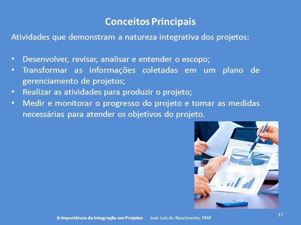 Conceitos Principais 17 Atividades que demonstram a natureza integrativa dos projetos: Desenvolver, revisar, analisar e entender o escopo; Transformar