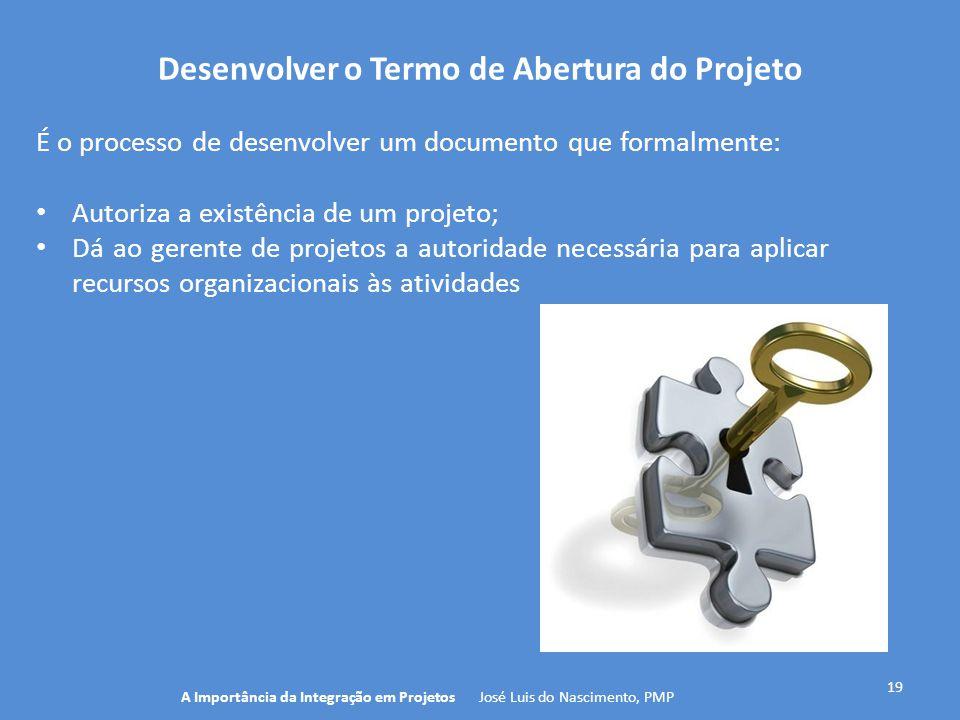Desenvolver o Termo de Abertura do Projeto 19 É o processo de desenvolver um documento que formalmente: Autoriza a existência de um projeto; Dá ao ger