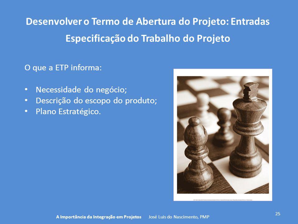 Desenvolver o Termo de Abertura do Projeto: Entradas 25 O que a ETP informa: Necessidade do negócio; Descrição do escopo do produto; Plano Estratégico