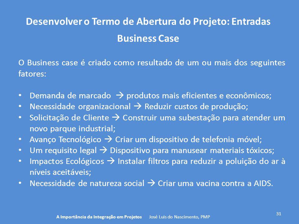 Desenvolver o Termo de Abertura do Projeto: Entradas 31 O Business case é criado como resultado de um ou mais dos seguintes fatores: Demanda de marcad