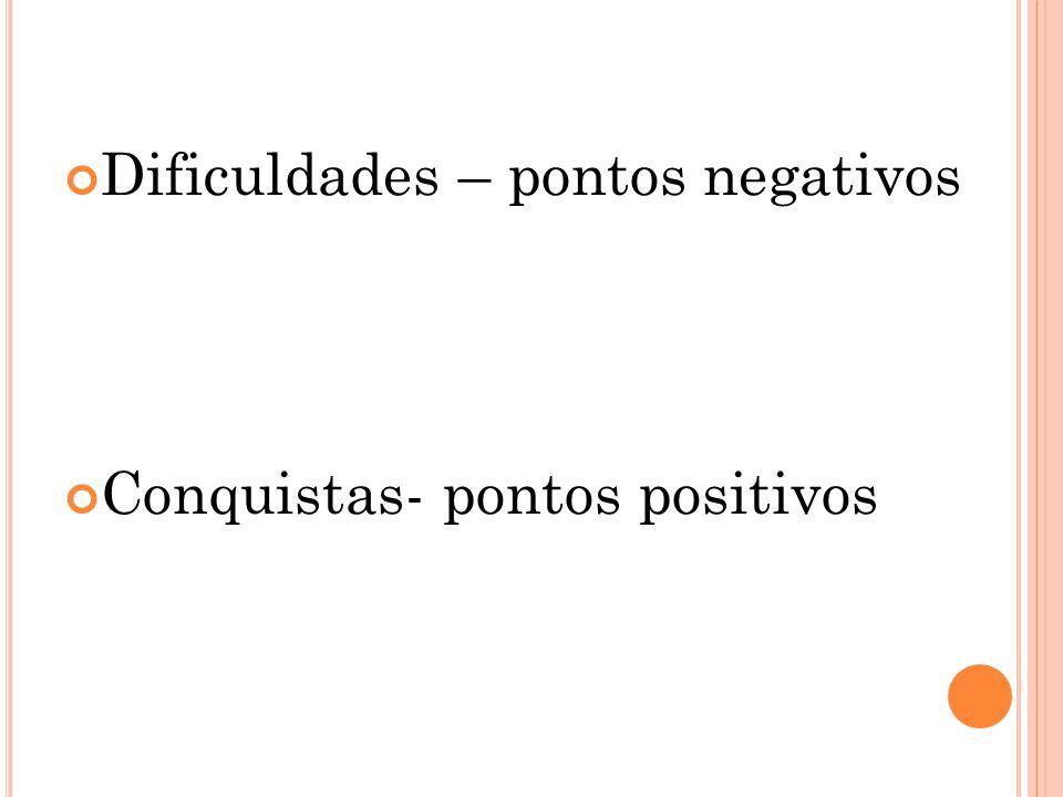 Dificuldades – pontos negativos Conquistas- pontos positivos