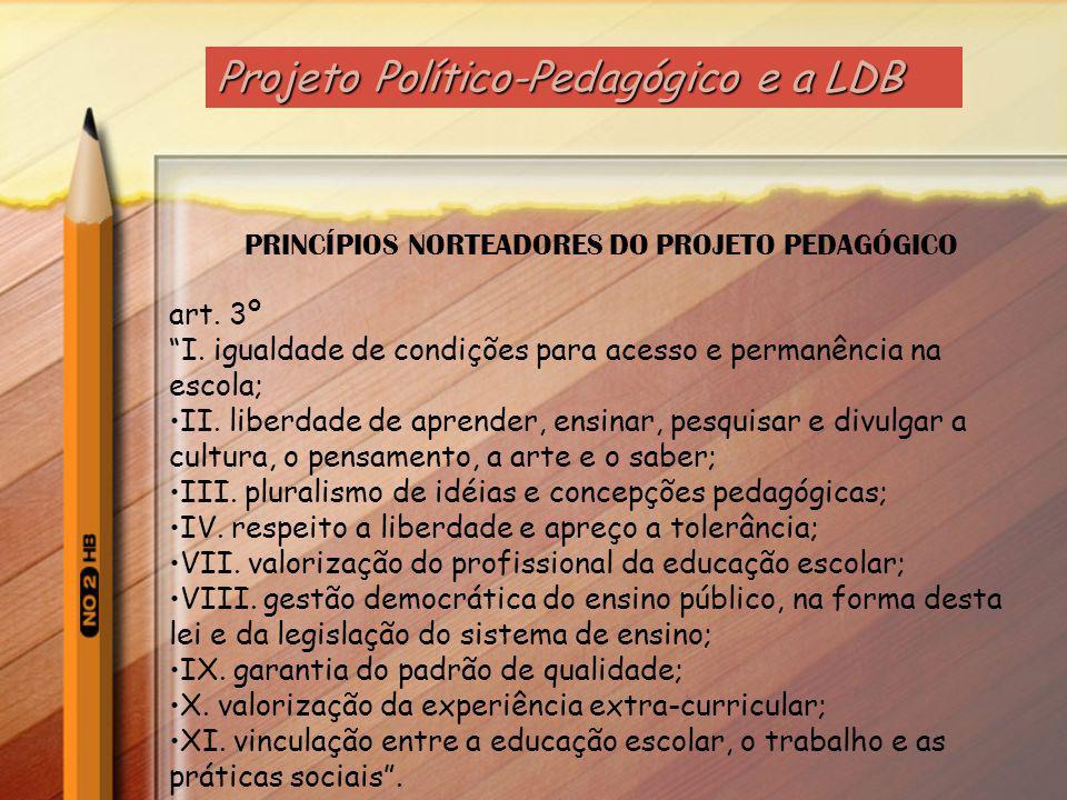 Lei de Diretrizes e Bases da Educação Nacional (LDBEN 9.394/96) estabelece: No artigo 15 - progressivos graus de autonomia pedagógica, administrativa