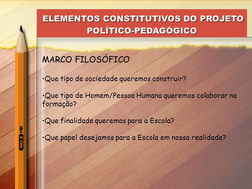 ELEMENTOS CONSTITUTIVOS DO PROJETO POLÍTICO-PEDAGÓGICO ELEMENTOS CONSTITUTIVOS DO PROJETO POLÍTICO-PEDAGÓGICO MARCO REFERENCIAL O Marco Situacional (o