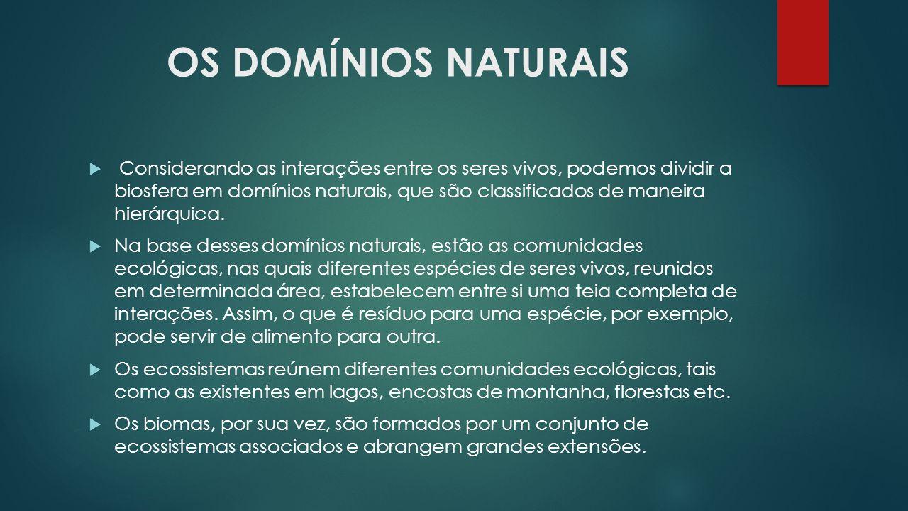 OS DOMÍNIOS NATURAIS  Considerando as interações entre os seres vivos, podemos dividir a biosfera em domínios naturais, que são classificados de mane
