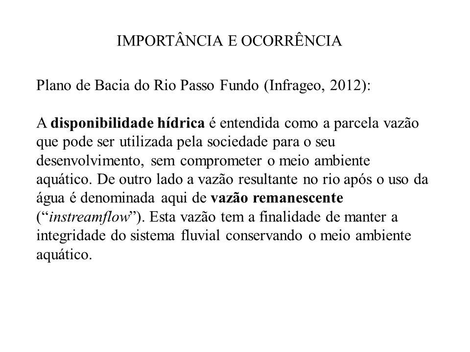 IMPORTÂNCIA E OCORRÊNCIA Plano de Bacia do Rio Passo Fundo (Infrageo, 2012): A disponibilidade hídrica é entendida como a parcela vazão que pode ser u