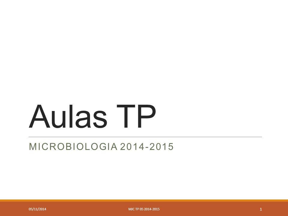 Aulas TP MICROBIOLOGIA 2014-2015 05/11/2014MJC TP 05 2014-2015 1