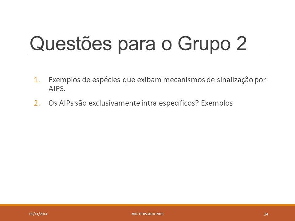 Questões para o Grupo 2 1.Exemplos de espécies que exibam mecanismos de sinalização por AIPS.