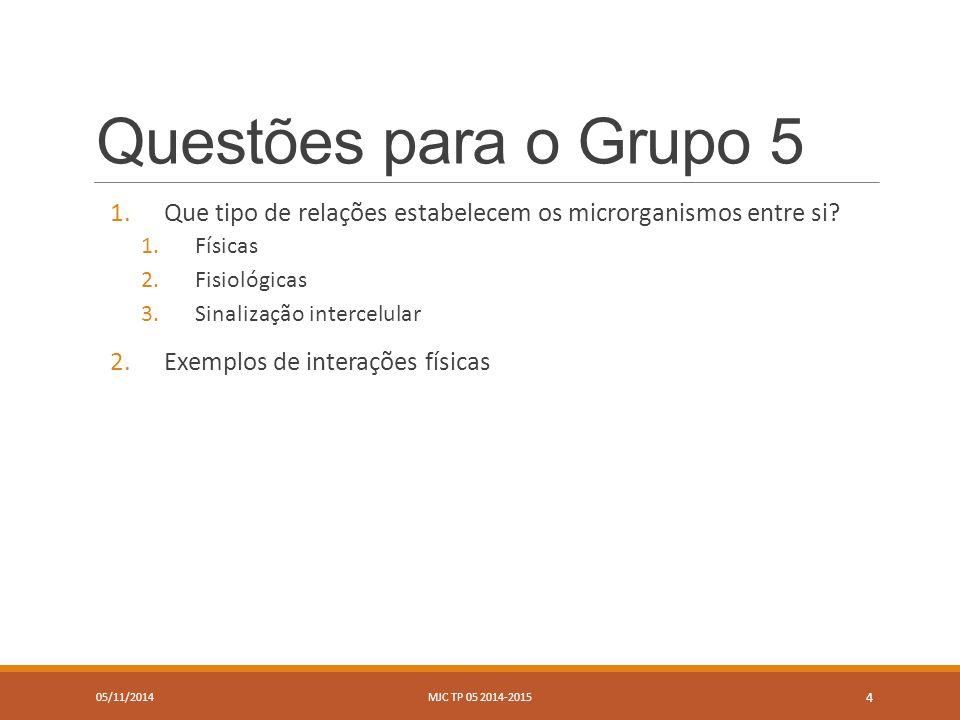 Questões para o Grupo 5 1.Que tipo de relações estabelecem os microrganismos entre si.