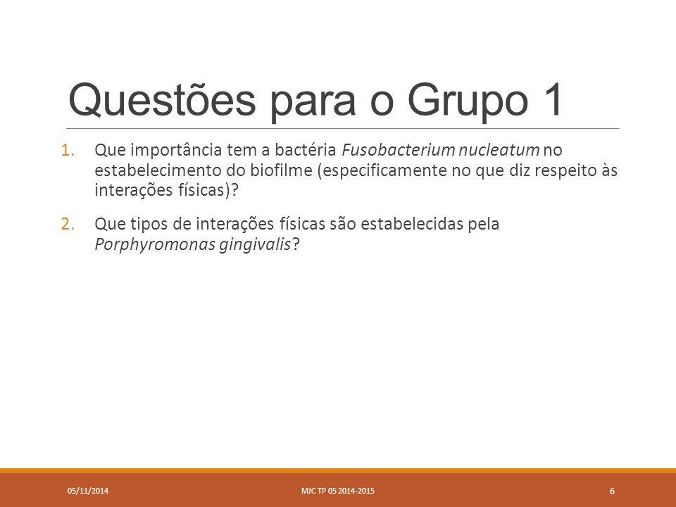 Questões para o Grupo 2 05/11/2014MJC TP 05 2014-2015 7 1.O que é a interação mediada por metabolitos.