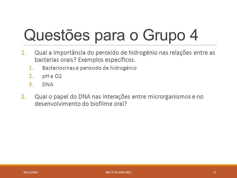Questões para o Grupo 4 1.Qual a importância do peroxido de hidrogénio nas relações entre as bacterias orais.