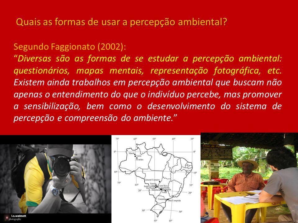 """Segundo Faggionato (2002): """"Diversas são as formas de se estudar a percepção ambiental: questionários, mapas mentais, representação fotográfica, etc."""