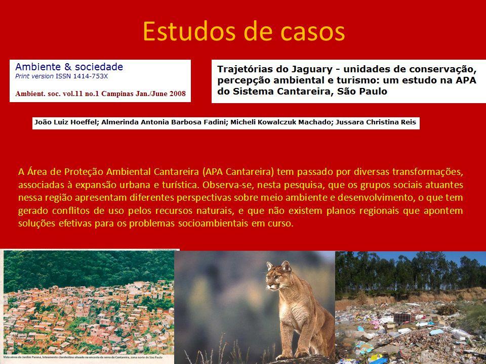 Estudos de casos A Área de Proteção Ambiental Cantareira (APA Cantareira) tem passado por diversas transformações, associadas à expansão urbana e turí