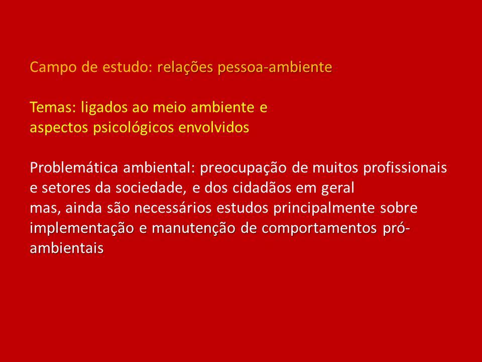 relações pessoa-ambiente implementação e manutenção de comportamentos pró- ambientais Campo de estudo: relações pessoa-ambiente Temas: ligados ao meio