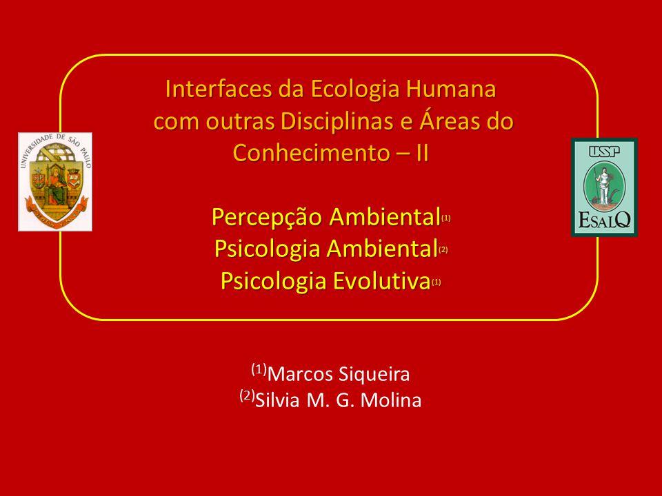 Interfaces da Ecologia Humana com outras Disciplinas e Áreas do Conhecimento – II Percepção Ambiental (1) Psicologia Ambiental (2) Psicologia Evolutiva (1) Interfaces da Ecologia Humana com outras Disciplinas e Áreas do Conhecimento – II Percepção Ambiental (1) Psicologia Ambiental (2) Psicologia Evolutiva (1) (1) Marcos Siqueira (2) Silvia M.