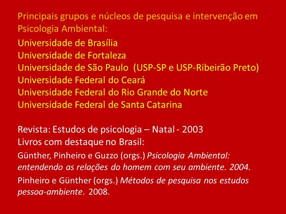 Principais grupos e núcleos de pesquisa e intervenção em Psicologia Ambiental: Universidade de Brasília Universidade de Fortaleza Universidade de São