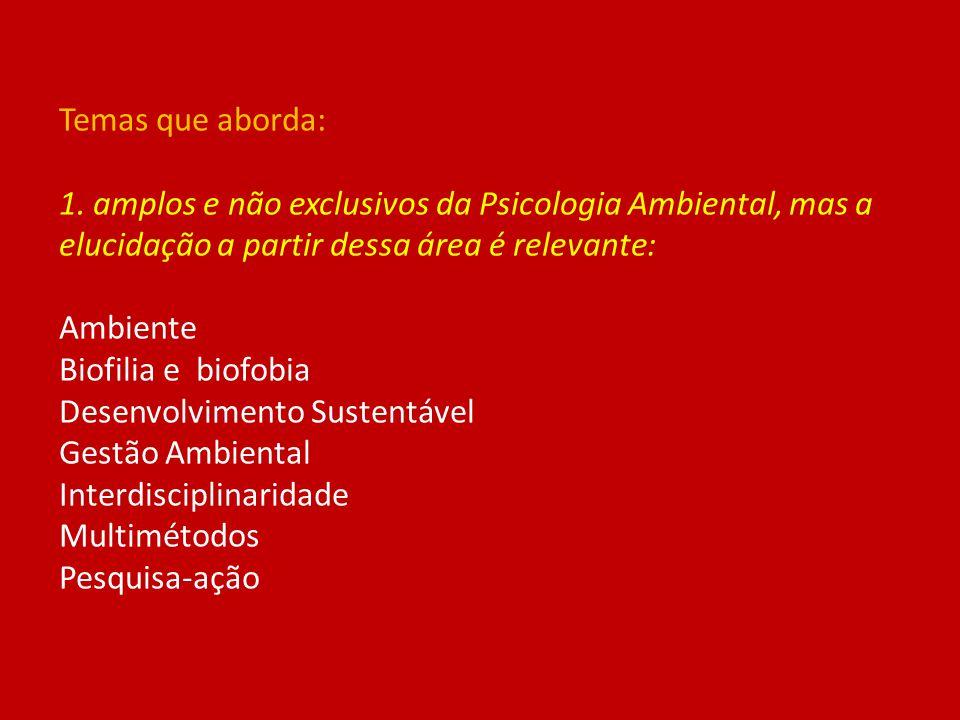 Temas que aborda: 1. amplos e não exclusivos da Psicologia Ambiental, mas a elucidação a partir dessa área é relevante: Ambiente Biofilia e biofobia D