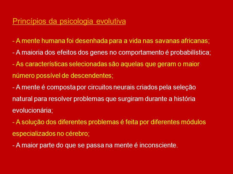 Princípios da psicologia evolutiva - A mente humana foi desenhada para a vida nas savanas africanas; - A maioria dos efeitos dos genes no comportament