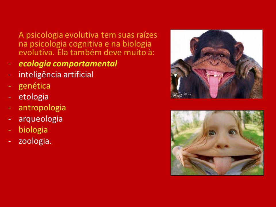 A psicologia evolutiva tem suas raízes na psicologia cognitiva e na biologia evolutiva. Ela também deve muito à: -ecologia comportamental -inteligênci